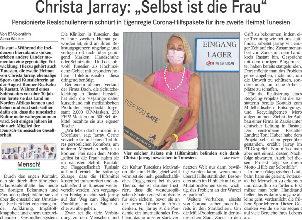 BT-Artikel Christa Jarray